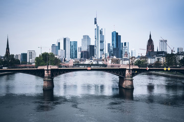 Frankfurt am Main skyline with Main river on clear day
