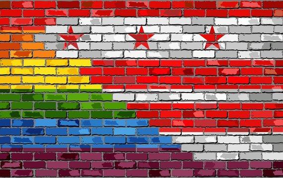 Brick Wall Washington, D.C. and Gay flags - Illustration, Rainbow flag on brick textured background,  Abstract grunge Washington, D.C. Flag and LGBT flag