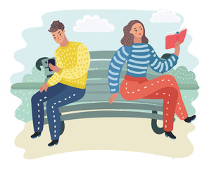 People in nature sitting on bench in the park. Man and woman reading book and news.