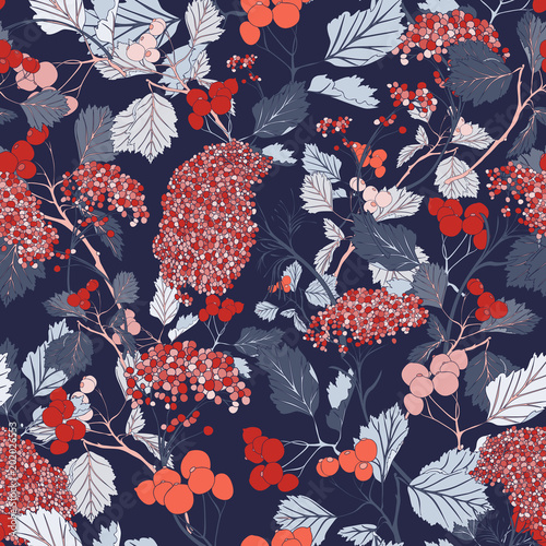 Romantic Red Cherry Blossom Botanical Garden Vector Seamless Pattern Vintage Textile Art Design Flower Illustration