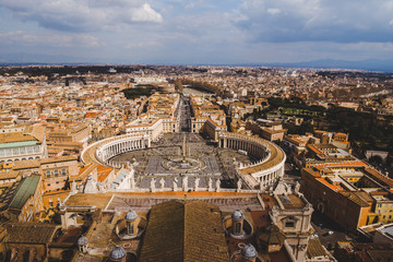 aerial view of famous St. Peter's square, Vatican, Italy