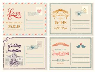 Old or retro,vintage wedding invitation empty card