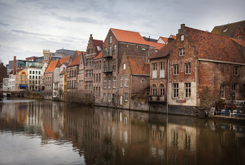 Printed kitchen splashbacks City on the water Ghent canals, Belgium