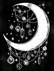 Crescent boho moon with gemstone pendants, stars.