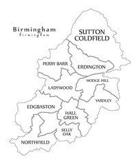 Modern City Map - Birmingham city of England with boroughs and titles UK outline map
