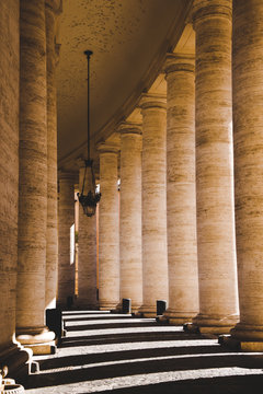 beautiful ancient columns with shadow in Vatican, Italy