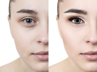 Young woman with and without makeup.