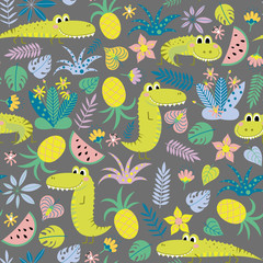Kids seamless background with funny crocodiles