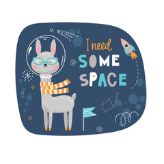 Funny illustration with llama in space
