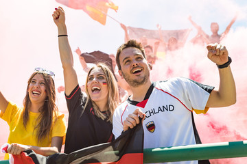 German supporters celebrating at stadium for football match