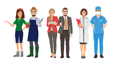 people's profession, vector flat illustrations of gardeners, business people and doctors, professionals in their field