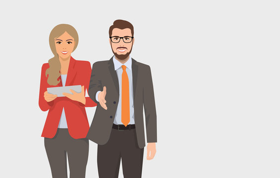 vector illustration of a woman and a man for business concepts, people in suits greet and holds a tablet or folder, manager, director, lawyer