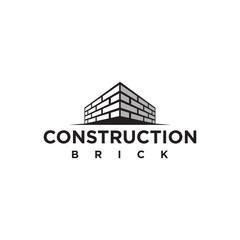 simple brick wall construction logo template element