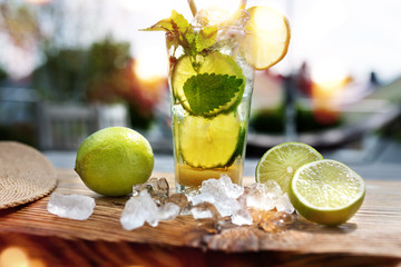 Fresh summer drink with lemon