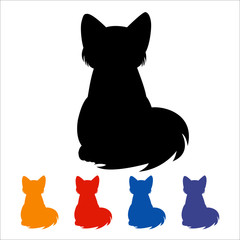 Cat icon, black silhouette on white background