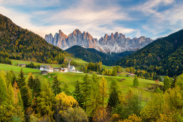 Val di Funes in the Dolomites at sunset, South Tyrol. Italy