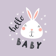 Hand drawn vector illustration of a cute funny bunny face, with stars, lettering quote Hello Baby. Isolated objects. Scandinavian style flat design. Concept for children print.