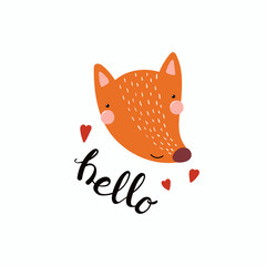 Hand drawn vector illustration of a cute funny fox face, with hearts, lettering quote Hello. Isolated objects. Scandinavian style flat design. Concept for children print.