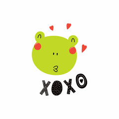 Hand drawn vector illustration of a cute funny frog face, with hearts, lettering quote XOXO. Isolated objects. Scandinavian style flat design. Concept for children print.