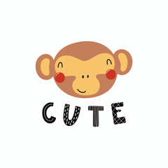 Hand drawn vector illustration of a cute funny monkey face, with lettering quote Cute. Isolated objects. Scandinavian style flat design. Concept for children print.