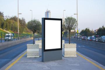 Metrobus bus stop blank frame mockup