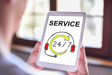 Service concept on a tablet