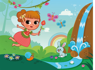 Vector illustration of cute fairy in nature.