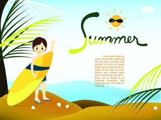 """Cute boy is holding yellow surf board on the beach background with hand written word """"Summer"""" and smiling sun"""