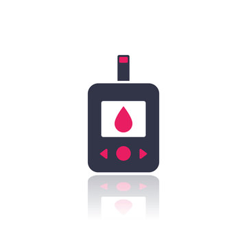 Glucose meter, glucometer icon on white