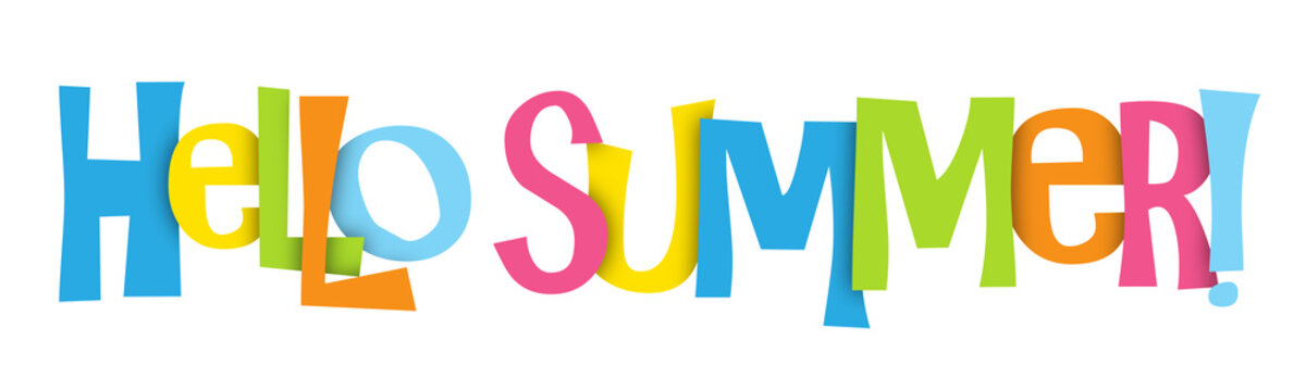 """HELLO SUMMER"" Overlapping Letters Vector Icon"
