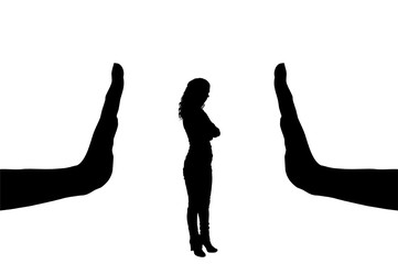 Vector silhouette of a female worker and gesture of a big hand stop