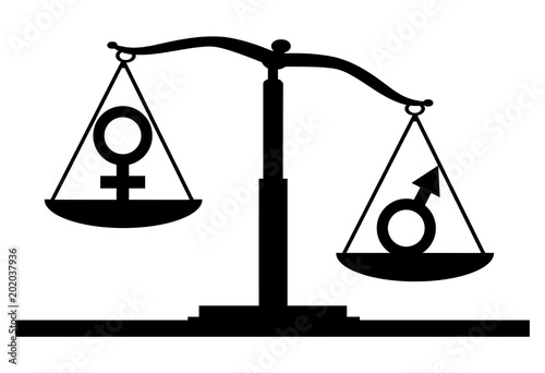Vector Silhouette Of Gender Symbols On The Scales Of Justice Where