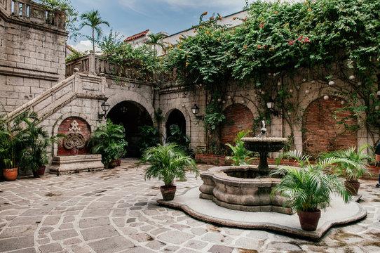 Spanish Colonial house fountain in Casa Manila, Philippines