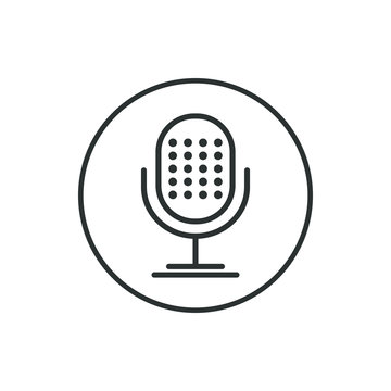 Black and white microphone icon in the round frame