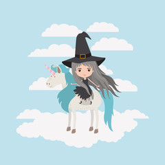 witch with unicorn in the clouds vector illustration design