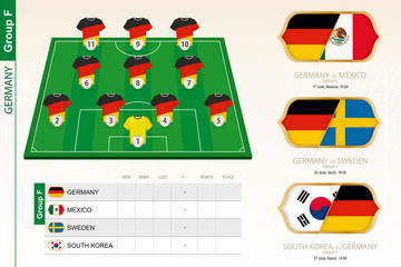 Germany football team infographic for football tournament.