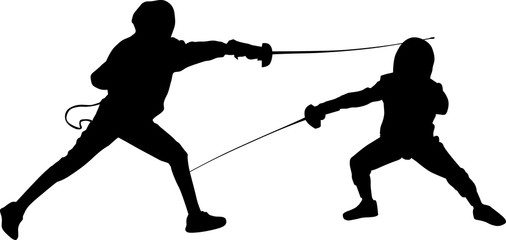 silhouettes of two black young fencers on white