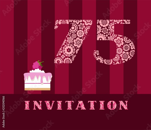 Invitation 75 Years Old Raspberry Pie Vector English The To