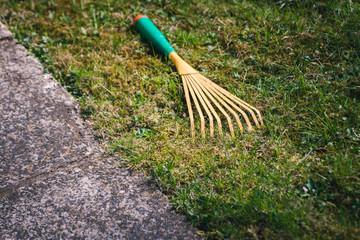 Kleinbesen für die Gartenarbeit auf Rasen Drahthandbesen zum Abfegen der Gartenabfälle