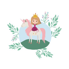 Poster princess with unicorn in the camp vector illustration design