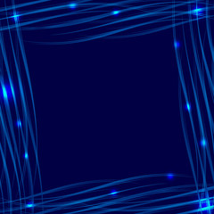 Vector blue glowing frame on a blue background with a marine style. Waiting for holidays and postcards.