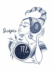 The Scorpio astrological sign as a beautiful girl. Horoscope. Astrology. Vector