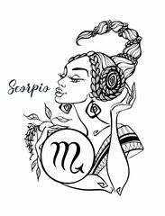 The Scorpio astrological sign as a beautiful girl. Horoscope. Astrology. Coloring. Vector