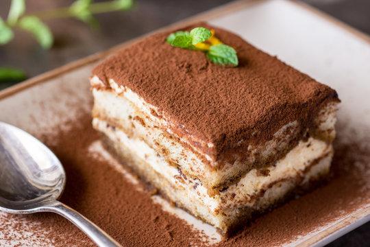 Tiramisu Cake Traditional Italian Dessert with Mascarpone Cheese and Espresso Coffee