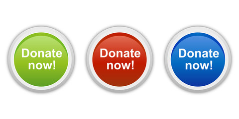rundes Button Set grün rot blau - Donate now