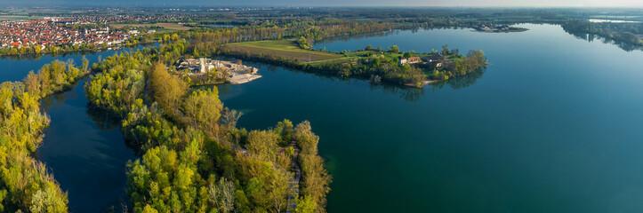 Luftbild Silbersee und Altrheinarm bei Worms