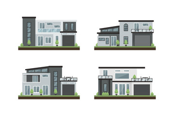 Vector Flat Illustration modern houses, family home, office building, private apartment, beauty architecture for dream houses awesome white and dark color