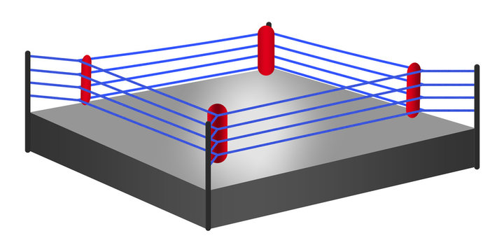 Boxing wrestling ring with blue ropes illustration on white isolated background