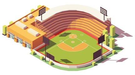 Vector isometric low poly baseball park