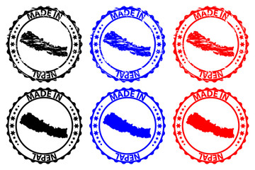 Made in Nepal - rubber stamp - vector, Nepal map pattern - black, blue and red